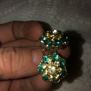 Vintage mid century NEMO aquamarine earrings goldt